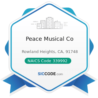 Peace Musical Co - NAICS Code 339992 - Musical Instrument Manufacturing