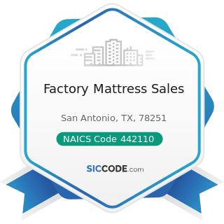 Factory Mattress Sales - NAICS Code 442110 - Furniture Stores