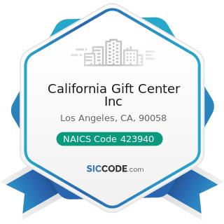 California Gift Center Inc - NAICS Code 423940 - Jewelry, Watch, Precious Stone, and Precious...