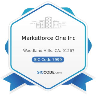 Marketforce One Inc - SIC Code 7999 - Amusement and Recreation Services, Not Elsewhere Classified