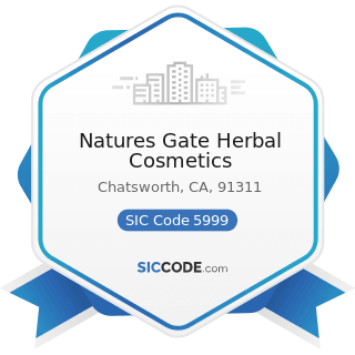 Natures Gate Herbal Cosmetics - SIC Code 5999 - Miscellaneous Retail Stores, Not Elsewhere...