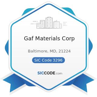 Gaf Materials Corp - SIC Code 3296 - Mineral Wool