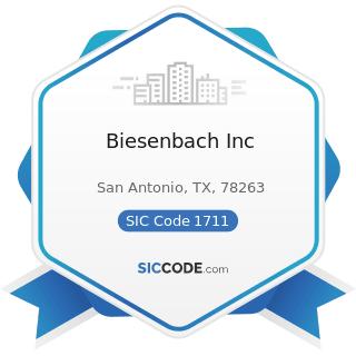 Biesenbach Inc - SIC Code 1711 - Plumbing, Heating and Air-Conditioning