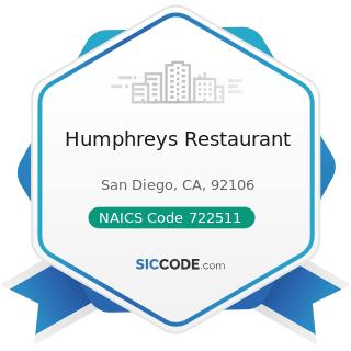 Humphreys Restaurant - NAICS Code 722511 - Full-Service Restaurants