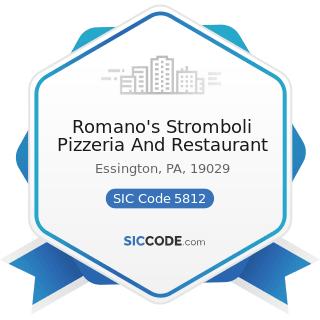 Romano's Stromboli Pizzeria And Restaurant - SIC Code 5812 - Eating Places