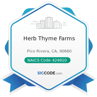 Herb Thyme Farms - NAICS Code 424910 - Farm Supplies Merchant Wholesalers