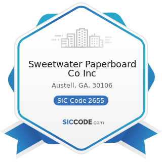 Sweetwater Paperboard Co Inc - SIC Code 2655 - Fiber Cans, Tubes, Drums, and Similar Products