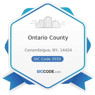 Ontario County - SIC Code 3555 - Printing Trades Machinery and Equipment