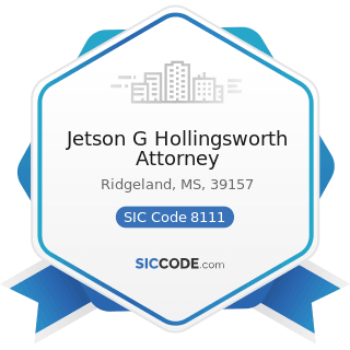Jetson G Hollingsworth Attorney - SIC Code 8111 - Legal Services