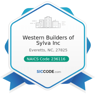 Western Builders of Sylva Inc - NAICS Code 236116 - New Multifamily Housing Construction (except...