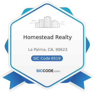 Homestead Realty - SIC Code 6519 - Lessors of Real Property, Not Elsewhere Classified