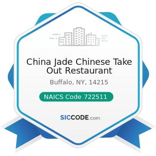 China Jade Chinese Take Out Restaurant - NAICS Code 722511 - Full-Service Restaurants