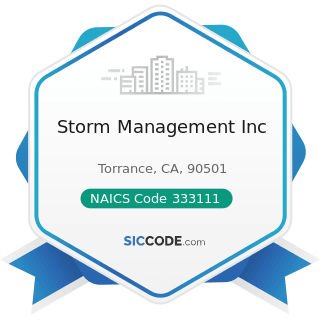 Storm Management Inc - NAICS Code 333111 - Farm Machinery and Equipment Manufacturing