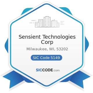 Sensient Technologies Corp - SIC Code 5149 - Groceries and Related Products, Not Elsewhere...