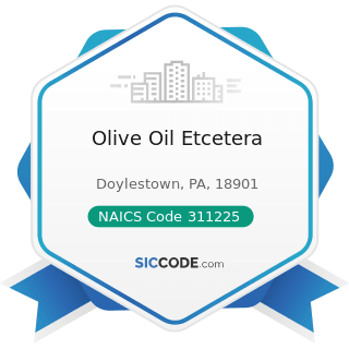 Olive Oil Etcetera - NAICS Code 311225 - Fats and Oils Refining and Blending