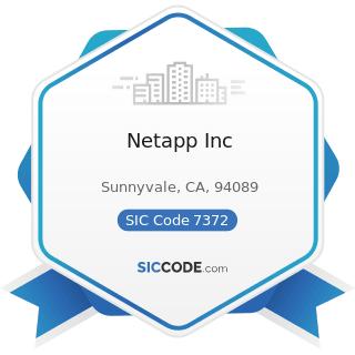Netapp Inc - SIC Code 7372 - Prepackaged Software