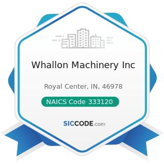 Whallon Machinery Inc - NAICS Code 333120 - Construction Machinery Manufacturing