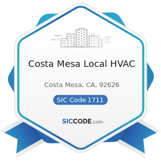 Costa Mesa Local HVAC - SIC Code 1711 - Plumbing, Heating and Air-Conditioning