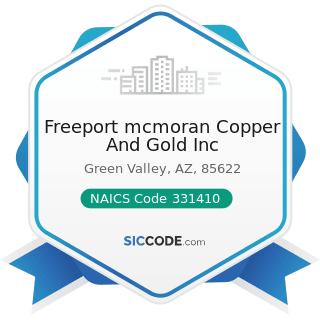 Freeport mcmoran Copper And Gold Inc - NAICS Code 331410 - Nonferrous Metal (except Aluminum)...