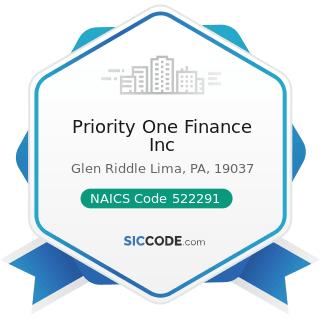 Priority One Finance Inc - NAICS Code 522291 - Consumer Lending