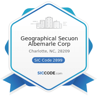 Geographical Secuon Albemarle Corp - SIC Code 2899 - Chemicals and Chemical Preparations, Not...