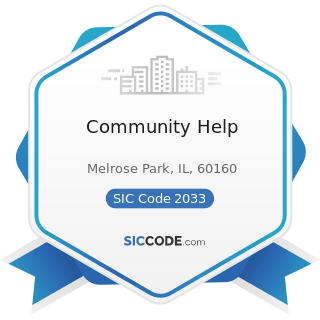 Community Help - SIC Code 2033 - Canned Fruits, Vegetables, Preserves, Jams, and Jellies