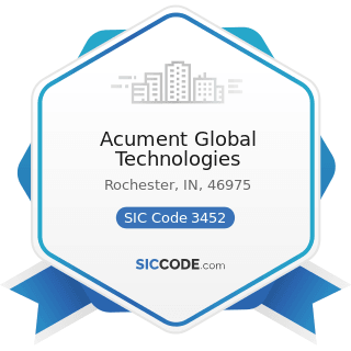 Acument Global Technologies - SIC Code 3452 - Bolts, Nuts, Screws, Rivets, and Washers