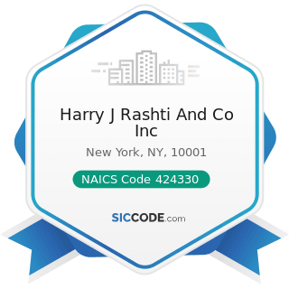 Harry J Rashti And Co Inc - NAICS Code 424330 - Women's, Children's, and Infants' Clothing and...