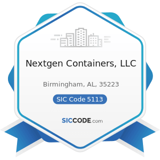 Nextgen Containers, LLC - SIC Code 5113 - Industrial and Personal Service Paper
