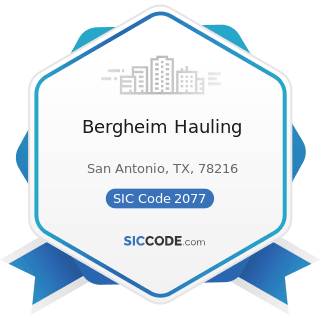 Bergheim Hauling - SIC Code 2077 - Animal and Marine Fats and Oils