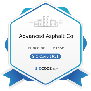 Advanced Asphalt Co - SIC Code 1611 - Highway and Street Construction, except Elevated Highways