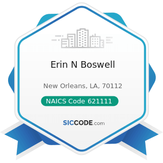 Erin N Boswell - NAICS Code 621111 - Offices of Physicians (except Mental Health Specialists)