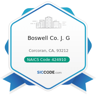 Boswell Co. J. G - NAICS Code 424910 - Farm Supplies Merchant Wholesalers