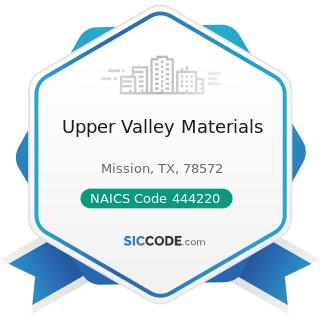 Upper Valley Materials - NAICS Code 444220 - Nursery, Garden Center, and Farm Supply Stores