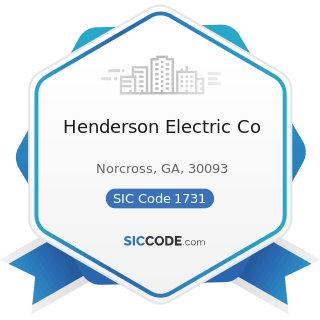 Henderson Electric Co - SIC Code 1731 - Electrical Work