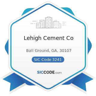 Lehigh Cement Co - SIC Code 3241 - Cement, Hydraulic