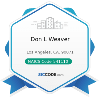 Don L Weaver - NAICS Code 541110 - Offices of Lawyers