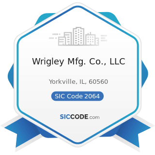 Wrigley Mfg. Co., LLC - SIC Code 2064 - Candy and other Confectionery Products
