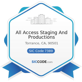 All Access Staging And Productions - SIC Code 7389 - Business Services, Not Elsewhere Classified