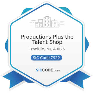 Productions Plus the Talent Shop - SIC Code 7922 - Theatrical Producers (except Motion Picture)...