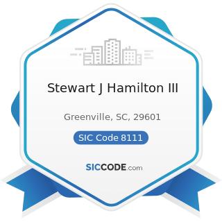 Stewart J Hamilton III - SIC Code 8111 - Legal Services