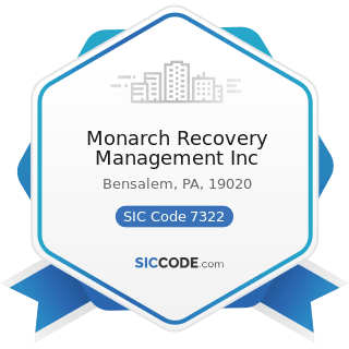 Monarch Recovery Management Inc - SIC Code 7322 - Adjustment and Collection Services