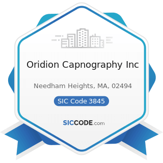 Oridion Capnography Inc - SIC Code 3845 - Electromedical and Electrotherapeutic Apparatus