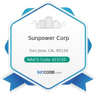 Sunpower Corp - NAICS Code 423720 - Plumbing and Heating Equipment and Supplies (Hydronics)...