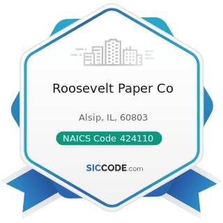 Roosevelt Paper Co - NAICS Code 424110 - Printing and Writing Paper Merchant Wholesalers
