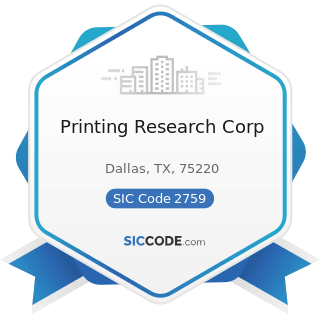 Printing Research Corp - SIC Code 2759 - Commercial Printing, Not Elsewhere Classified