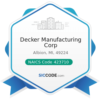Decker Manufacturing Corp - NAICS Code 423710 - Hardware Merchant Wholesalers