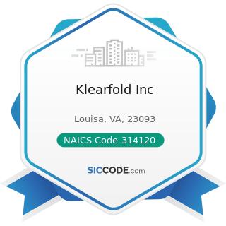 Klearfold Inc - NAICS Code 314120 - Curtain and Linen Mills