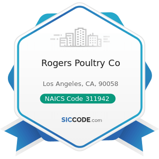 Rogers Poultry Co - NAICS Code 311942 - Spice and Extract Manufacturing