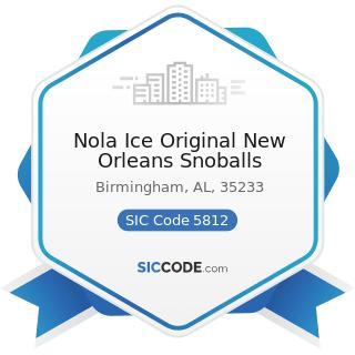 Nola Ice Original New Orleans Snoballs - SIC Code 5812 - Eating Places
